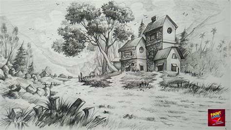Drawing Landscapes by How To Draw And Shade A Simple Landscape For Beginners