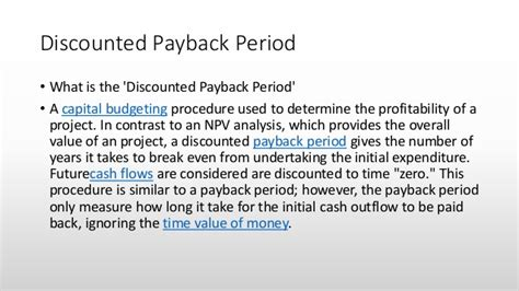 Mba Payback Period by Net Present Value Rate Of Return Profitability
