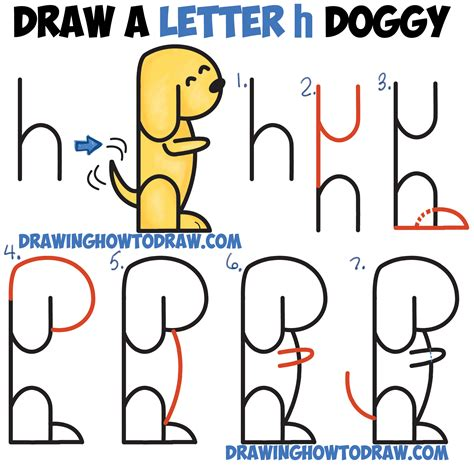 how to draw a puppy step by step how to draw a begging from 2 letter h shapes easy step by step drawing