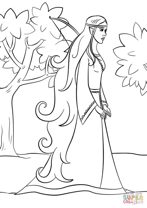 wood elf girl coloring page free printable coloring pages
