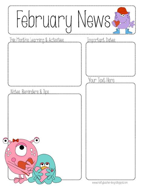 daycare newsletter templates february newsletter teaching ideas