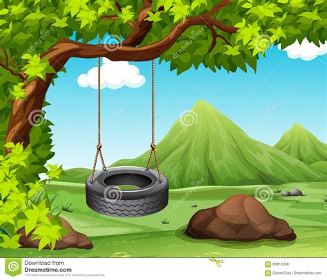 swinging scene scene with swing on the tree stock vector image 69913208