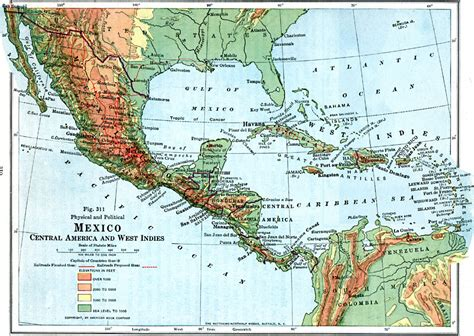 america map geographic features central america