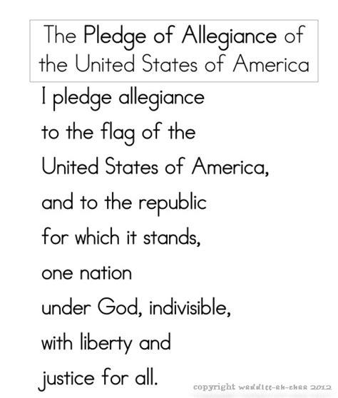 printable lyrics to the pledge of allegiance pledge of allegiance free printable for children 4th of