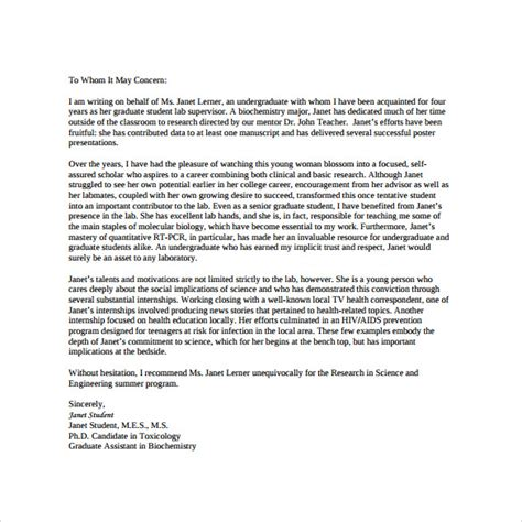 Recommendation Letter For A Business Student Personal Letter Of Recommendation For Student