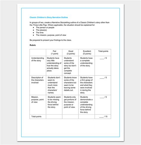 Story Outline Template 15 For Word And Pdf Format Story Template Pdf