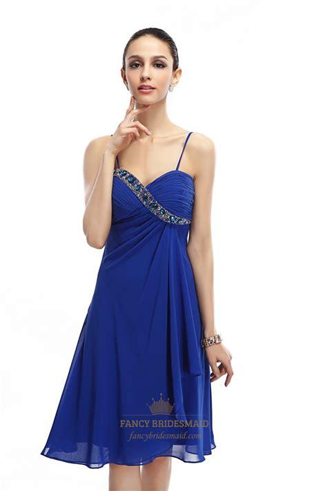spaghetti chiffon dress royal blue spaghetti chiffon cocktail dress with
