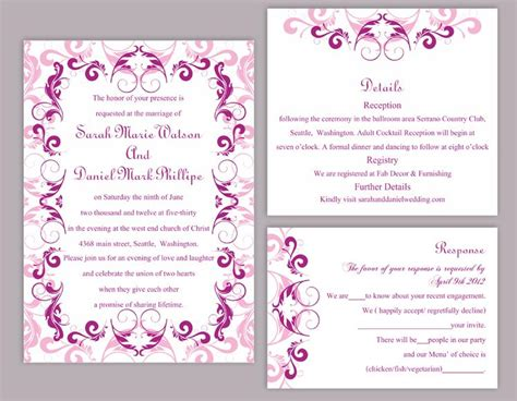 wedding invitation editable templates diy wedding invitation template set editable word file