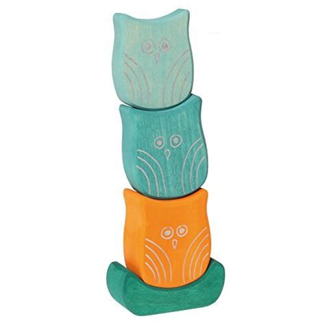 Wooden Balancing Owl grimm s balancing owls wooden baby blocks for stacking