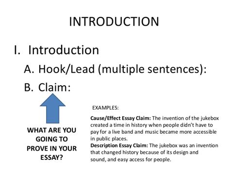 Informative Essay Introduction Exles by Informational Essay Leads Claims Subheading Outline