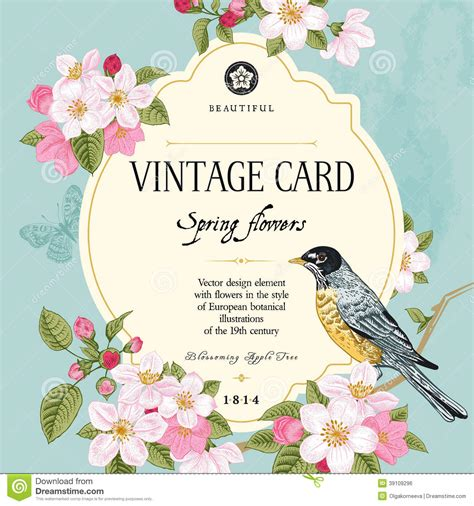 Wedges N Bunga Flower Floral 1 primavera de la tarjeta vector vintage