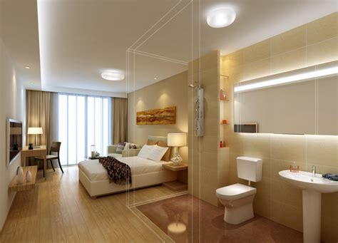 Bedroom With Bathroom Design Bedroom And Bathroom Design Rendering 3d House Free 3d House Pictures And Wallpaper