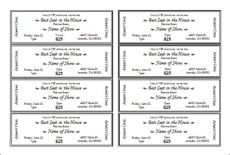 show ticket template ticket templates free sle templates