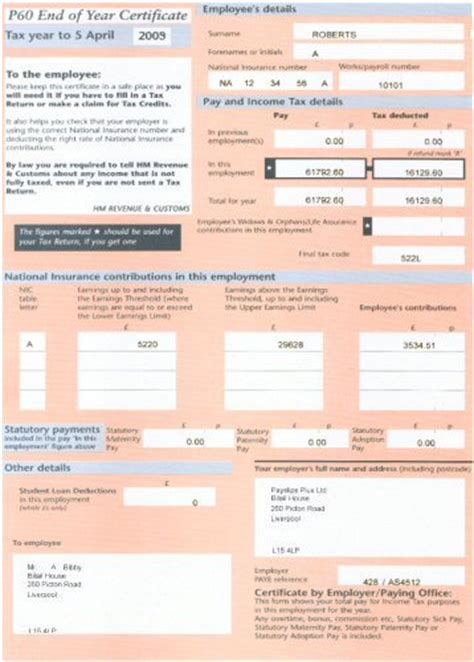 National Insurance Number Letter Meaning P60 Standard Payslips Plus
