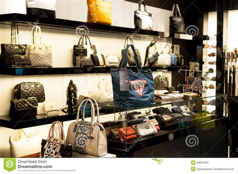 luxury home decor stores guess handbag and purse fashion store editorial stock