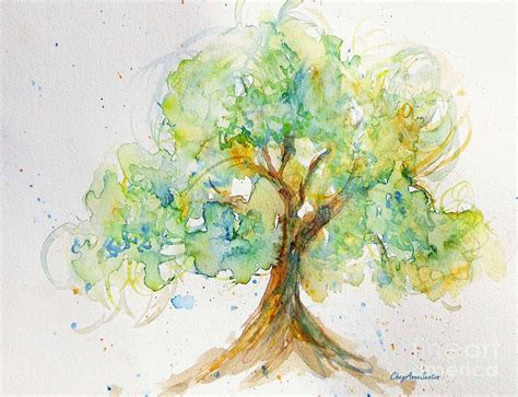 Kid Duvet Spring Tree Watercolor Painting By Cheyanne Sexton
