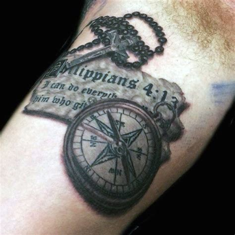 compass tattoo christian meaning 100 rosary tattoos for men sacred prayer ink designs