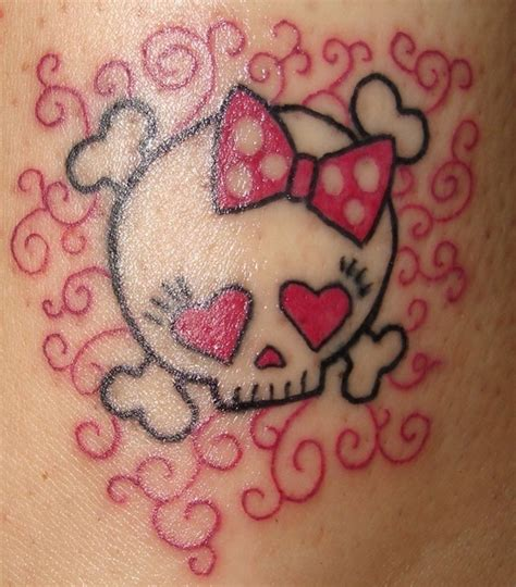feminine skull tattoo designs girly skull crossbones picture at checkoutmyink