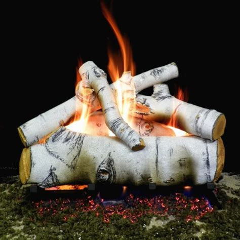 gas fireplace logs birch