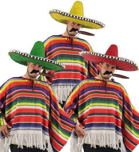 details  mexican man costume poncho sombrero tash