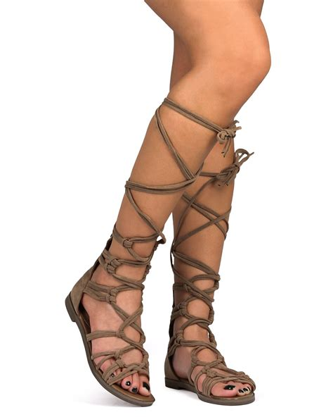 Sandal Wedges Ls02 72 new womenbreckelles 72 suede knotted peep toe lace up