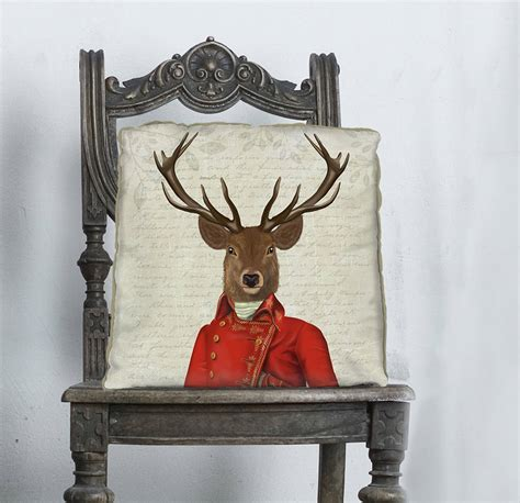 deer with and gold jacket decorative cushion by