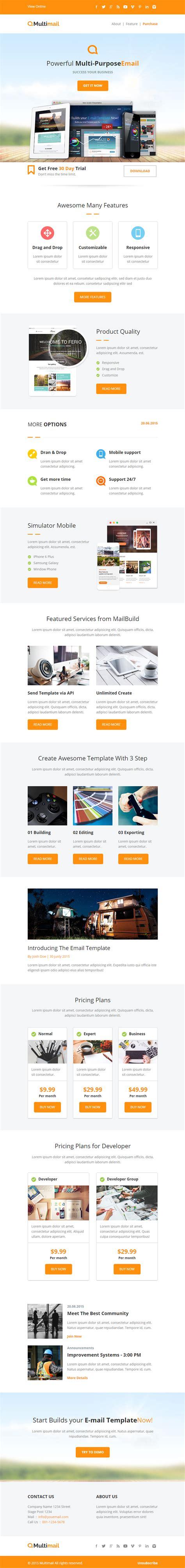 html5 responsive email template multimail premium responsive email set mailbuild