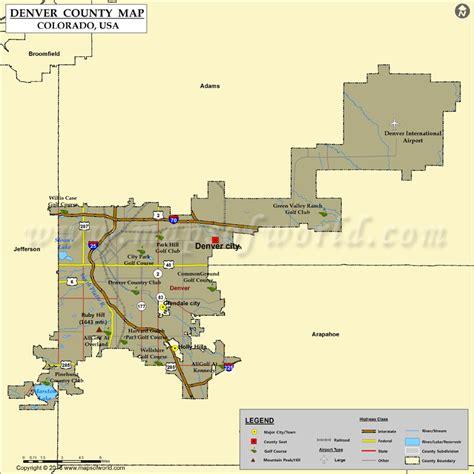 denver in usa map denver county map colorado map of denver county co