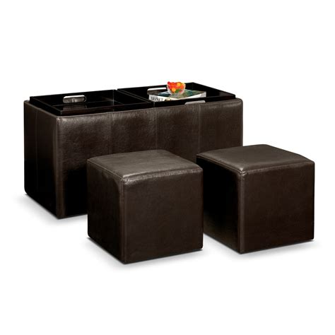 Tiffany 3 Piece Storage Ottoman With Trays Brown Value Storage Ottoman Brown