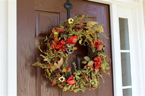 ten june a natural fall front door wreath a wreath giveaway for you