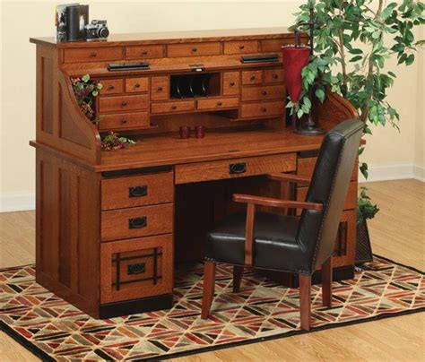 Desk Roll Top Amish Standard Mission Roll Top Desk With Top Drawers