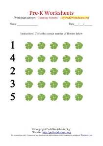 pre k counting worksheets with flowers pre k worksheets org