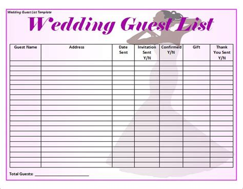 best wedding guest list template 17 best images about wedding on lotto tickets