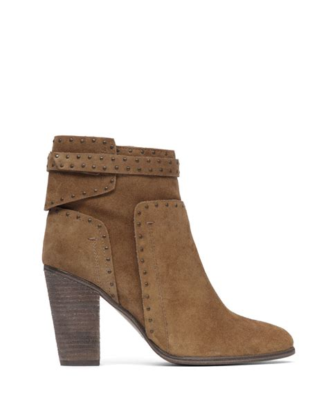 vince camuto faythes studded suede ankle boots in brown lyst