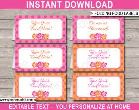 Birthday Place Cards Printable Hawaiian Luau Party Food Labels Place Cards Hawaiian