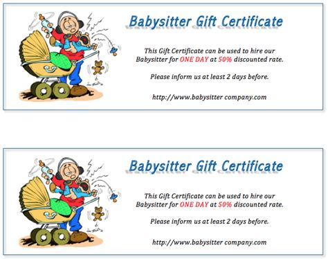 babysitting gift voucher template free gift certificate templates 8 templates