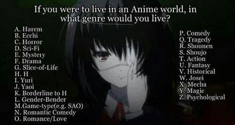 anime genre game if you lived in the anime world in what genre what you