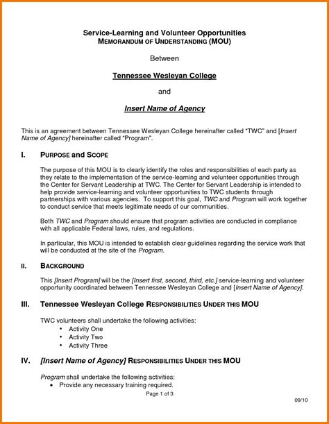 Memorandum Of Agreement Letter Format 7 Memorandum Of Understanding Template Assistant Cover Letter