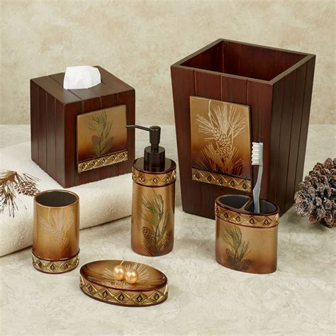 pinecone bathroom accessories lodge bathroom decor cabin bathroom edelweiss log cabin idyllwild cabin rentals decor