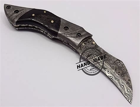 Handmade Pocket Knife - damascus pocket knife custom handmade damascus steel
