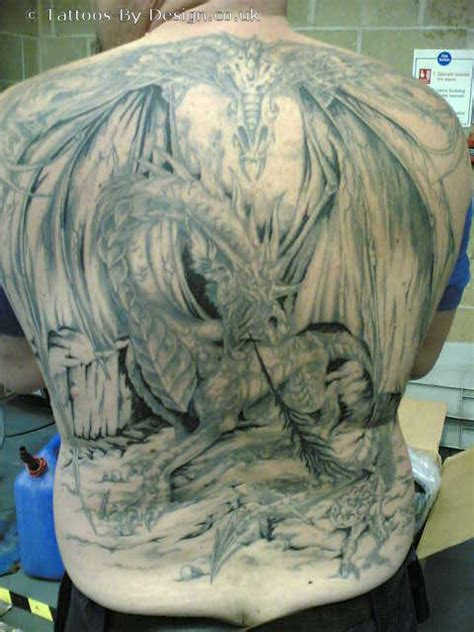 knight and dragon tattoo designs fighting