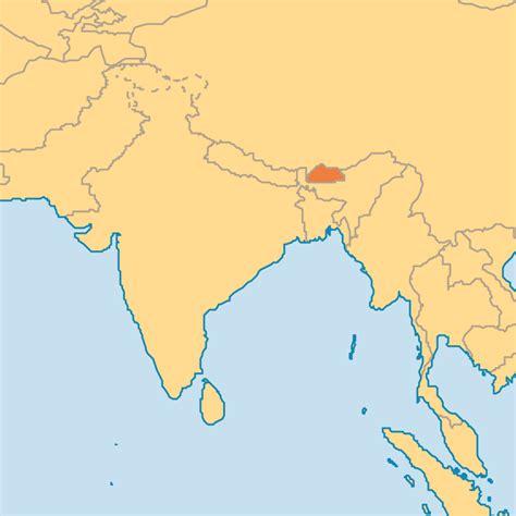 where is bhutan on a world map world map bhutan nepal