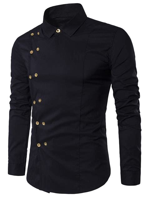 Sleeve Breasted Shirt black l breasted turndown collar sleeve shirt