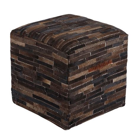 Cowhide Cube Cowhide Cube Pouf In Brown A1000448
