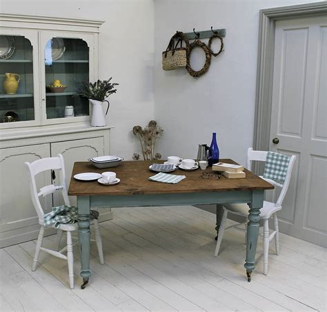 On Kitchen Table by Distressed Painted Pine Kitchen Table By Distressed But