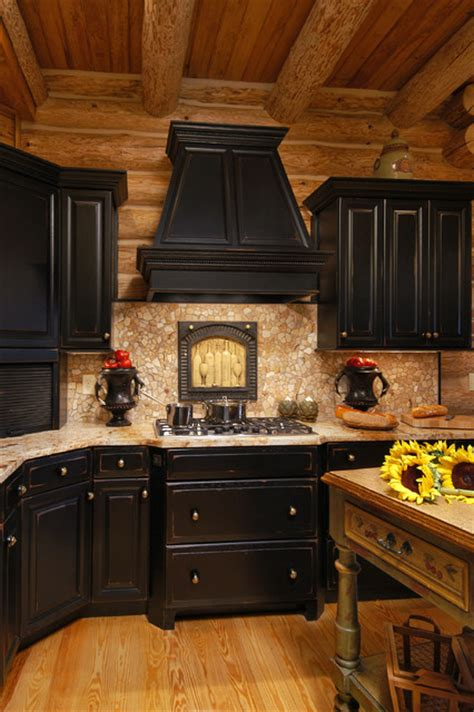 Rustic Black Kitchen Cabinets by Rustic Log Cabin Kitchen