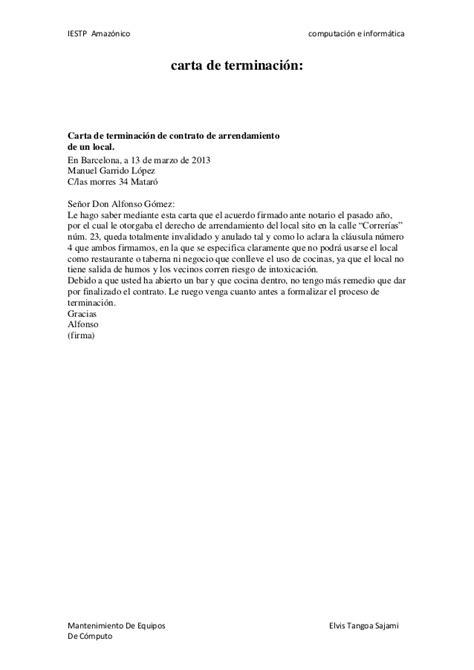 modelo carta terminacion contrato periodo prueba modelos de cartas de terminacion de contrato de
