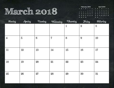 printable calendar template 2018 printable march 2018 template calendar 2018