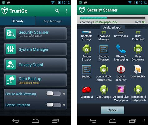 mobile security products test trustgo mobile security 1 3 for android 132774 av