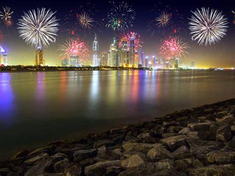 night  dubai united arab emirates stones skyscrapers merry christmas fireworks desktop hd